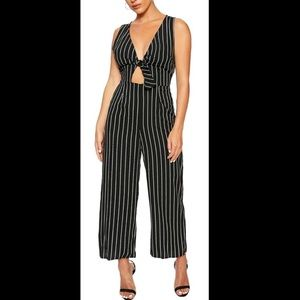 Striped Jumpsuit with Cutouts